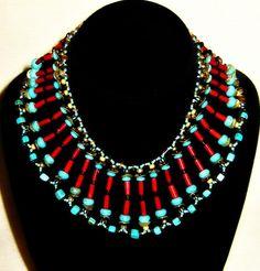 "Artbeads.com Jewerly Design Star Round 9 Winner - Christine Wentzel - ""Coral and Turquoise Bib Necklace"""