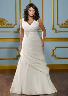 Fitted A Line V Neck Empire Waist Ruched Satin Plus Size Wedding Dress Corset Back #WeddingDressesPlusSize