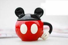 Cute Mickey Ceramic Cup with original colors box Coffee Mug With Cover Creative Cartoon tea milk Mugs cup Gifts customized