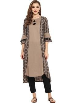 Buy Cotton Printed High Low Hemline Kurta With Narrow Pant party-wear-kurtis online Casual Indian Fashion, Ethnic Fashion, Net Gowns, Party Wear Kurtis, Fashion Line, Classy Women, How To Wear, Clothes, Hemline