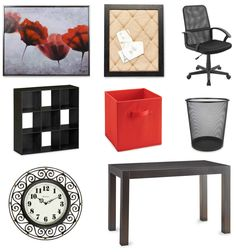 """Home office decor on a budget. Items from Big Lots: Painted Flowers Framed Art (35.00), Burlap Memo Board with Black Frame (15.00), Mesh Office Chair (47.00), Ameriwood 9-Cube Black Storage Cubby (40.00), Ameriwood Tan Fabric Bin (5.00 ea.), It's A Keeper Large Black Mesh Waste Basket (5.00), Black Scroll Frame Wall Clock ($13.00), Parsons 48"""" Black Desk (100.00) 