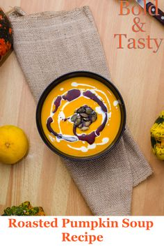A recipe for Roasted Pumpkin Soup with Hulled Pumpkin Seeds, Pumpkin Oil and Heavy Cream #pumpkinsoup, #soup #autumnsoup #fallsoup #recipe Roasted Pumpkin Soup Recipe, Roast Pumpkin Soup, Pumpkin Oil, Soup Starter, Toasted Pumpkin Seeds, Roasted Squash, Sauteed Vegetables, Squash Soup, Vegetable Stock