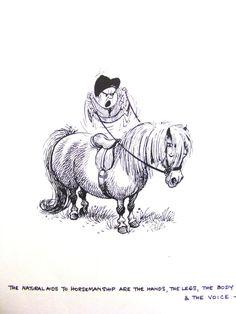 Thelwell Vintage Art Print A Leg At Each Corner Riding Horse Pony Children