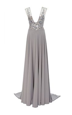 Deep V Embellished Gown by GEORGES HOBEIKA for Preorder on Moda Operandi