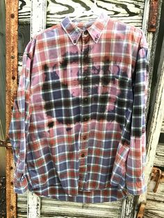 2472033daf5ff Bleached Grunge Flannel by GrungeFlannelsbySara on Etsy Green Flannel