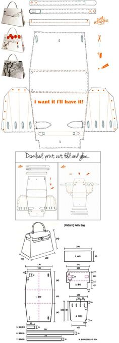 Hermès Kelly Bag  Origami Paper Craft - i want it i'll have it!   http://yesmissy.files.wordpress.com/2013/01/kelly_papier-plain.pdf
