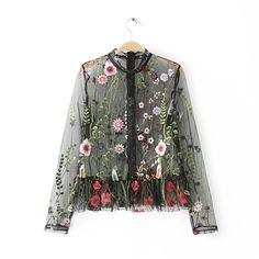 Cheap summer tops, Buy Quality women blouses directly from China see through blouse Suppliers: Sexy Mesh Flower Embroidery Tops Women Blouses 2017 Woman Shirt Black Summer Tops Womens See through ClothingCY0001