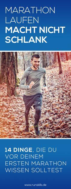 Wusstest du, dass du alleine durchs joggen nicht abnimmst? Genau so sieht's beim Training für einen Marathon aus. Nur durch gesteigerte Laufumfänge wirst du nicht an Gewicht verlieren. Die Ernährung und alternatives Training spielen eine ebenso wichtige Rolle. Dieser Fakt und 13 weitere Dinge, die du vor deinem ersten Marathon wissen solltest, findest du in diesem Beitrag.  #marathonlaufen #joggen #abnehmen #schlankdurchlaufen