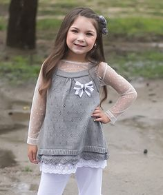 Love this Gray Lace Sweater Dress - Toddler & Girls by Sweet Charlotte on #zulily! #zulilyfinds