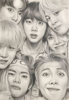 This drawing is AMAZING! ARMYs you guys must definitely save this! Kpop Drawings, Cool Art Drawings, Pencil Art Drawings, Art Drawings Sketches, Realistic Drawings, Hard Drawings, Drawing Ideas, Look Wallpaper, Bts Wallpaper