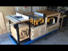 Mobile all-in-one work bench - built in table & miter saw - YouTube