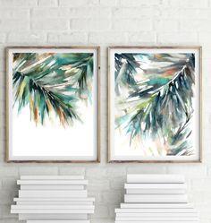 Palm Leaves Print Set Wall Art Prints Set of 2 Green