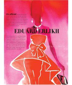 Eduard Erlikh #fashion #illustration #Vogue #pink #orange #couture #www.traffic-nyc.com #www.trafficartshop.com