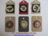 Refrigerator Magnet Gift Tags - DIY Tutorial dianeuke.blogspot.com