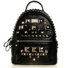 Leather Backpack With Pyramid Studs ($45) ❤ liked on Polyvore featuring bags, backpacks, real leather backpack, backpacks bags, black bag, leather backpack bag and black backpack
