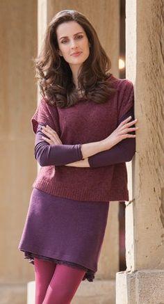 Naturkleidung - Overshirt bordeaux in Babybouclé mit Tunika und Minirock in Double Face, Größen S bis XL - Finesse Fashion ©