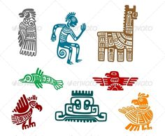 Aztec and Maya Ancient Drawings - Decorative Symbols Decorative