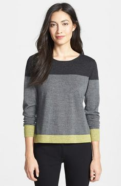 Eileen Fisher Colorblock Merino Wool Sweater (Regular & Petite) available at #Nordstrom