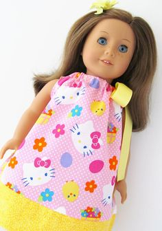 "Hello Kitty Easter American Girl Doll Pillowcase Dress for 18"" Doll, Bitty Baby, Bitty Twin. $7.95, via Etsy."