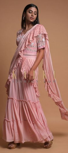 Pastel Pink Indowestern Gown In Crepe With Tiered Hemline Attached Ruffle Drape Online - Kalki Fashion Anarkali, Lehenga, Indowestern Gowns, Saree Styles, Indian Designer Wear, Pastel Pink, Indian Wear, Salwar Kameez, Party Wear