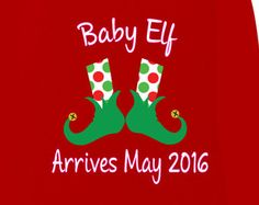 Chistmas Maternity Shirts,  Baby Elf  Maternity Shirts for Christmas In Red