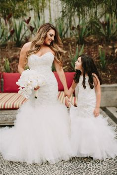 1ae429404b0 Teresa Matching wedding gowns for this bride and flower girl. Mermaid  wedding dress available for
