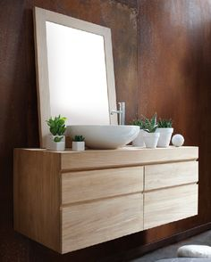 Urban Wall Mounted Teak Double Vanity By Line Art Measures 47 1 Bathroom Furnitureoak