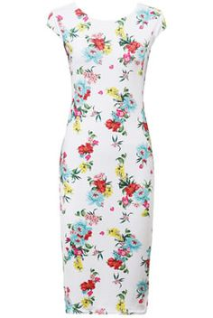 White Wildflower Midi Dress ~ boobaloboutique.com