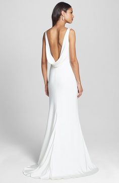 bliss monique lhuillier draped neck silk crepe wedding dress in stores only nordstrom