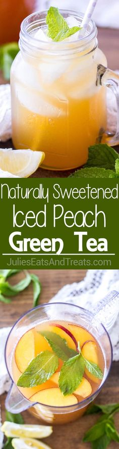 Iced Peach Green Tea ~ This naturally sweetened and the perfect drink for summer! Only 4-ingredients stand between you and this pretty little homemade iced tea! via @julieseats