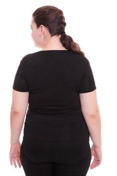 Футболка А5914 Размеры: 52-54, 56-58 Цвет: черный Цена: 270 руб.  http://optom24.ru/futbolka-a5914/  #одежда #женщинам #футболки #оптом24