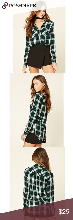 Snap-Button Plaid Shirt Size S NWT never worn  Forever 21 Tops