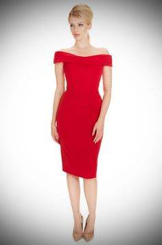 d3a2b263a048 1950's style red Bardot off the shoulder Thea wiggle dress by the Pretty  Dress Company