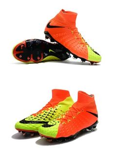new styles 15af7 d57bd Chaussures Nike HyperVenom Phantom III Dynamic Fit FG Orange Jaune