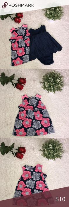 6 month dress bundle navy pink floral dress Perfect condition Used - smoke free pet free home  Brand: just one you by carters  Size 6 months ***Does not come with diaper cover shorts Carter's Dresses Casual