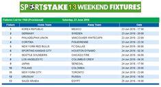 #SportStake13 Weekend Fixtures - 23 June 2018  https://www.playcasino.co.za/sportstake-weekend-fixtures.html