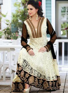 Cream Net Brasso Anarkali Suit