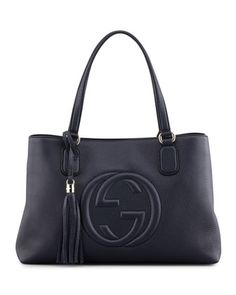 Soho Leather Working Tote Bag, Dark Navy by Gucci at Neiman Marcus.