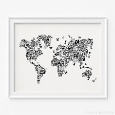 CAT WORLD MAP Wall Decor Poster. Starting Price $9.90 at VocaPrints.com - #cat #worldmap #mapart #walldecor #catlover