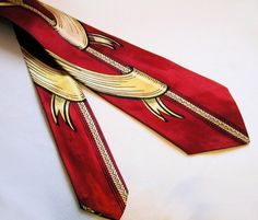 40's Penney's Tie, Red Rayon, Gold Ribbons Braid Print, by MisterBibs