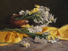 Narcissus with Yellow by Laurie Kersey Oil ~ 12 x 16