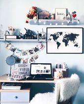 59 Super Ideas apartment style dorm tips Bedroom Desk, Dream Bedroom, Room Decor Bedroom, Dorm Room, Diy Room Decor, Decoration Tumblr, Decoration Inspiration, Easy Home Decor, Home Office Decor