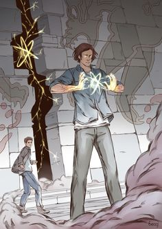 Sam Winchester closing the gates of hell. Season 8 inspired, though nothing like this scene actually happens in the show, for those who haven't been able to watch it yet. Supernatural Cartoon, Supernatural Drawings, Supernatural Pictures, Supernatural Fan Art, Supernatural Wallpaper, Sam Winchester, Castiel, Gates Of Hell, Fanart