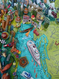 Sara Drake - Adriatic detail with (Venice) from a large illustrated map of Italy - papier mache, acrylic paint, balsa wood and mixed media.