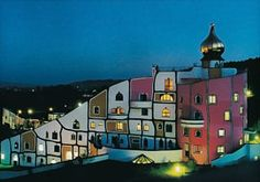 A hotel designed by Hundertwasser in Austria. I'd love to visit this one day. #hundertwasser #austria #hotel