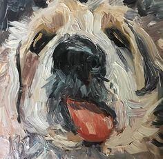 "Daily Paintworks - ""Kissing Bandit"" - Original Fine Art for Sale - © Annette Balesteri"