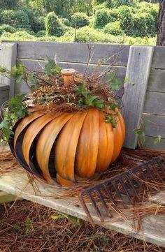 Halloween pumpkin made from attic turbine Halloween Pumpkins, Fall Halloween, Halloween Crafts, Rustic Halloween, Samhain Halloween, Thanksgiving Decorations, Halloween Decorations, Seasonal Decor, Thanksgiving Tree