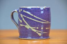 Purple Ceramic Coffee Mug, Hand Thrown Porcelain Pottery, Coffee Cup, Teacup, Beer Stein, Gift for Mom, Dad | Caldwell Pottery