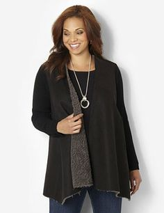 Soft jacket is a winter essential. Openfront style has sueded fabric on the front, with cozy faux wool fabric inside. Relaxed ribbed knit fabric covers the back and long sleeves. Waist is cinched on the back with a large toggle closure. Wear it all season long for everyday warmth. Catherines jackets are styled exclusively for the plus size woman. catherines.com