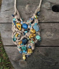 Natural Turquoise Amber Bib Necklace OOAK Macrame by DreamsFactory